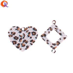 Venda Por Atacado 50pcs acessórios de jóias / brinco conectores / efeito de leopardo / liga de zinco / diy / feitas à mão / brinco achados