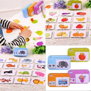 Estrenar 2018 pudcoco recién llegados Puzzle niños juguetes Cognición caja de hierro Vehicl Fruit Tarjetas animales Tarjeta de juego de correspondencias