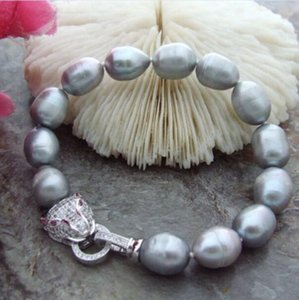 Jewelry Pearl Bracelet natura 10-11mm south sea grey baroque pearl bracelet 7.5-8 inch Free Shipping