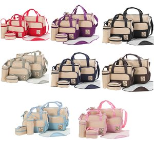 Multifunctional Waterproof Large Capacity Washable Travel Tote Stylish Diaper Bag Set 5 Pieces