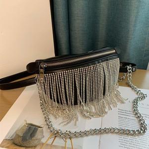 Cristal-Fringe Convertible Cinto De Couro Bag mulheres sacos de ombro Cinto Bolsa de Ombro Mulheres Sacos de cadeia Bolsas saco de cintura designer de luxo