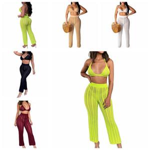 2019 Nueva crochet encubrimientos de la playa las mujeres atractivas ahuecan hacia fuera Top + pantalones de traje de baño bikini cubre sube el traje Plage 2 piezas de ropa de playa / SET T200601