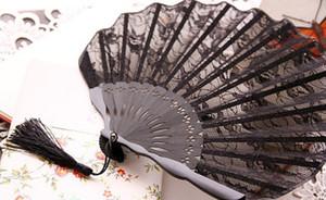 New hollow fan decoration folding black lace European classical Japanese palace folding folding fan lace retro