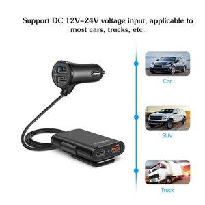 빠른 QC3.0의 USB 차량용 충전기 연장 코드 케이블 뒤로 좌석 요금 가진 4 개의 USB 포트는 이동 전화 보류 클립