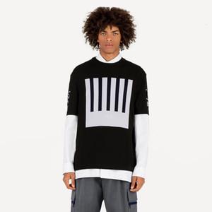 19FW Jacquard monograma mezcla de lana Kintting camiseta de código de barra de la Tierra Logo Jacquard Moda Casual Tee calle de manga corta camiseta de HFYMTX617