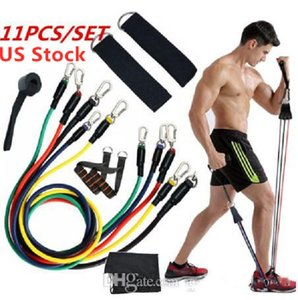 Azionari statunitensi 11pcs / set fune fitness Esercizi fasce di resistenza del lattice Tubi Pedale Excerciser Training Body Workout elastico Yoga Banda