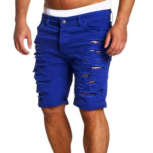 New Summer Mens Hole Short Jeans Men cotton Stretches Casual Denim Shorts Pants Fashion Hot Sell cowboy Trouser Males