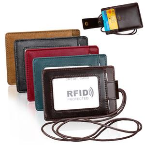 RFID Блокировка Wallet ID окна Знак кредитной карты мужской из натуральной кожи фото Pass держатель Кошельки шейный ремень с Ремешок