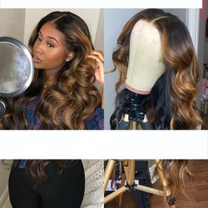 H Ombre Highlight Wig Brown Honey Blonde Colored Wavy Hd Whole Lace Front Human Hair Wigs Straight Full 360 Lace Frontal Wig Remy