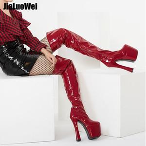 Kırmızı Fetiş 20 cm yüksek topuklu diz çizmeler Üzerinde Kadınlar uyluk yüksek çizmeler platformu artı boyutu 46 Adam dans ayakk ...