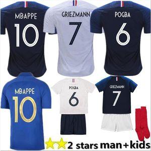 100 فرنسا MBAPPE GRIEZMANN POGBA بالقميص 2018 الذكرى السنوية لكرة القدم جيرسي لكرة القدم تدريب ارتداء القمصان الرجل امرأة الاطفال عدة مايوه دي القدم
