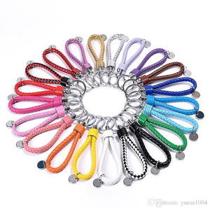 Moda Unissex corda trançada de couro Handmade Waven Keychain Key Couro Cadeia anel titular para carro Chaveiros Homens Mulheres KeyChains