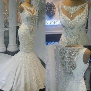 Lujo Iglesia real Sirena Cristal Vestidos de novia Joya para el cuello Encaje 3D Piedras de Strass Tren de barrido Ver a través de vestidos de novia de talla grande