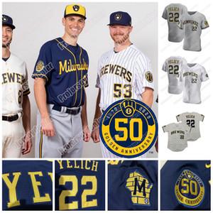 2020 Saison Milwaukee 50e d'or Baseball Jersey Christian Yelich Lorenzo Cain Eric Thames Ryan Braun Orlando Arcia