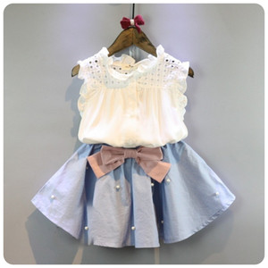 2-8 Years Kids Clothes For Girls The Bow Skirt And Lace Top Summer Suit Korean Style Children's Clothing Sets Baby Toddler Set Q190523