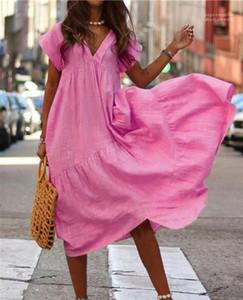 Casual Bayanlar fırfır Derin V-Yaka Elbise Tasarımcı Gevşek Kısa Kollu Elbiseler Moda Şeker Renk Vintage Elbiseler