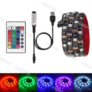 LED قطاع 5V 5050 RGB USB 24Key حدة الأشعة تحت الحمراء التحكم عن بعد للحصول خلفية TV إضاءة مرنة RGB LED قطاع IP65 للماء مجموعة EPACKET