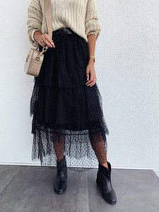 Womens Fashion Girl vita alta Tutu gonna lunga promenade del partito del Club tulle a pois gonna a strati elegante signore Streetwear