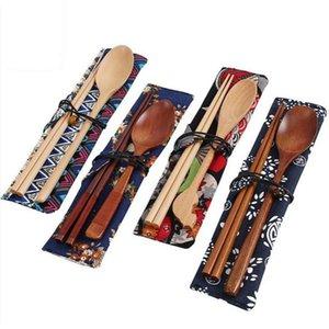 حار بيع الصينية عيدان صديقة للبيئة المحمولة أدوات المائدة الخشبية مجموعات اليابانية عيدان خشبية والملاعق بدلة السفر