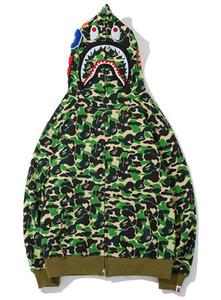 19SS Nuevo patrón sudadera con capucha para hombre A Bathing AAPE Ape Shark Hooded Hoodie Coat Camo Chaqueta con cremallera completa Camuflaje Hoodies