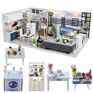 Miniature Cutebee DIY Casa com tampa protetora contra poeira Móveis LED Música Modelo Building Blocks Brinquedos para Crianças Casa De Boneca J18