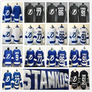 Crianças Man Mulheres Tampa Bay Lightning Hockey Jerseys 91 Steven Stamkos 86 Nikita Kucherov Victor Hedman Vasilevskiy Ryan McDonagh Brayden Point