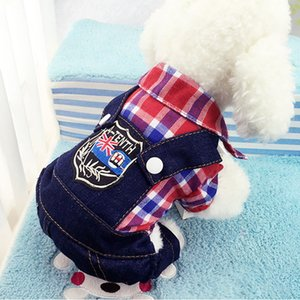 New Dog Clothes Pet Products Puppy Cat Costumes Lattice Four Legs With Jeans Onesies Jacket Spring Summer Autumn Wear DC616