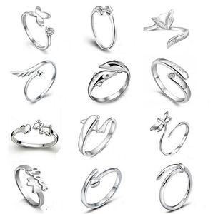 Lo nuevo 925 anillos de plata esterlina Jewerly delfines libélulas del ángel amor Fox apertura de la mariposa anillo ajustable para las mujeres
