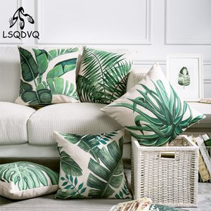 Tropical Green Plant Feuille De Palmier Feuilles Monstera Imprimé Housse de Coussin Pour Canapé Voiture Maison Almofadas 45x45cm
