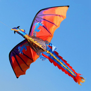 Cometa en forma de dinosaurio 3D con tablero de línea de 100 metros y cola giratoria Cometas al aire libre Juguetes voladores para niños Niños Truco Cometa