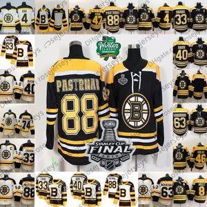 2019 Stanley Cup Final Boston Bruins Jersey # 33 Zdeno Chara 40 Tuukka Rask 63 Brad Marchand 88 David Pastrnak Blank Nero Bianco Patch