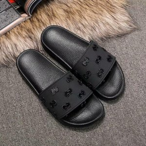 2020 new Designer sandals Cat Tiger bee print Soft leather rubber men women sandals slipper size 35-45
