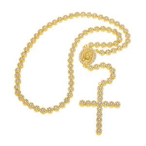 Hommes Femmes Hip Hop Bijoux en alliage deux tons perles longue chaîne pendentif croix Collier chapelet catholique
