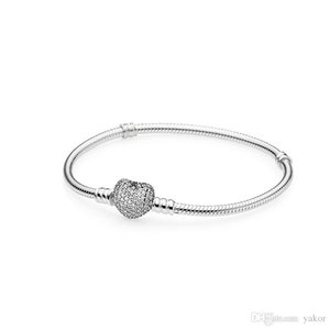 Mujeres Boda CZ Diamond Love Heart Pulsera de cadena de mano Caja original para Pandora 925 Juego de pulsera de plata