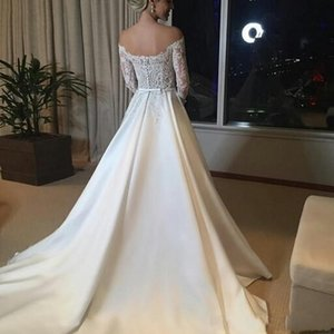 White A Line Off The Shoulder Wedding Dresses Long Lace Applique Bridal Gowns Formal Wedding Party Dress With Sleeves vestidos de novia