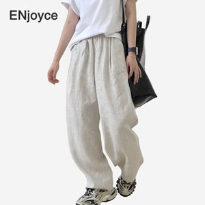 2020 Summer Cotton and Linen Loose Pants Fashion Women Wide Leg Comfortable Female Casual Thin Trousers