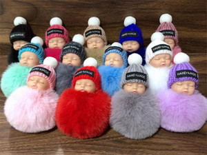 Cute Sleeping Baby Doll Keychain Pompom Rabbit Fur Ball Key Chain Car Keyring Women Key Holder Bag Pendant Charm Accessories