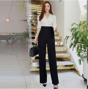 Clobee mujeres primavera manga completa camisas blancas con vendaje pantalones de pierna ancha pantalones formales trajes 2018 trajes elegantes HJ341
