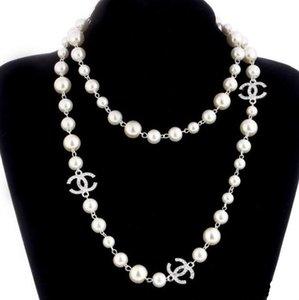 2020 Лучший стиль Роскошные ювелирные изделия дизайнера ожерелье натуральный жемчуг ожерелье Длинный свитер цепи Элегантная леди мода ювелирные изделия Свадебные аксессуары