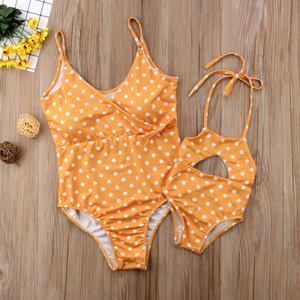 Лето новая Мать и дочь купальник дети полька точек купальник семья купальники девочки полая пляж сиамского бассейн A2813