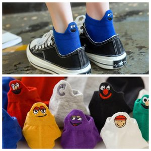 summer new socks embroidery smiley cartoon couple boat sock heel funny socks trend personality girl sock