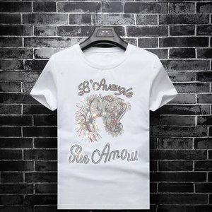 2020High Quality Fashion Designer Short Tiger Head Rhinestone T-shirt Style Men's Round Neck T-shirt 100% Cotton Short-sleeved Men&#039