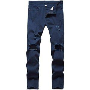 dos homens Ripped Skinny afligido Destruído Slim Fit Jeans Stretchy Joelho Buracos Denim Calças Jeans Moda casual para homens