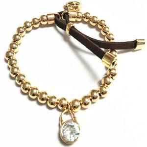 NEW YORK Célèbre styliste Bracelets Femmes Homme Perles Bracelets avec cristal Charme Gold Argent Rose Gold Beads Beads M Plaque Stretchy Bracelet