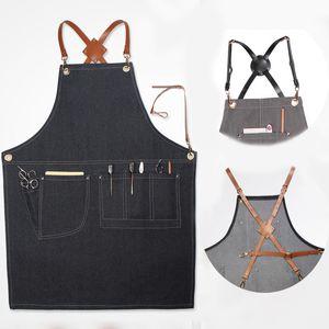 Aprons Denim Leather Simple Uniform Unisex Adult Jeans Aprons for Woman Men Male Lady Kitchen Barber Cooking Pinafores