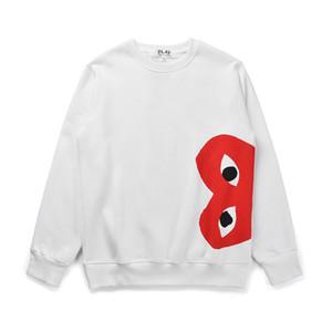 Top Quality 2019 CDG Reproduce secundarios corazón rojo Hombres Mujeres Sudaderas, corazón rojo de impresión suéter de cuello redondo, además de terciopelo con capucha, ropa deportiva engrosamiento