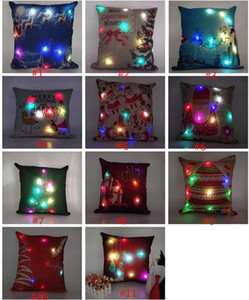 Led Light Pillow Case Luminous Christmas Decorations Pillow Cover Santa Claus Reindeer Print Pillowcase Sofa Car Decor Linen Cushion Covers