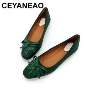 Ceyaneao 2018 Ballerines Slip-on Bowtie Printemps Automne Femme Seule Chaussures De Travail Chaussures Dames Femmes Chaussures Zapatos Mujer Y190704