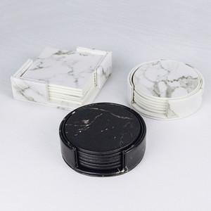 PU Marble Leather Set porta-copo Coffee Cup Mat Tea Pad Mesa de Jantar Placemats Tabela Black White Chic decoração Home 6PCS T200702