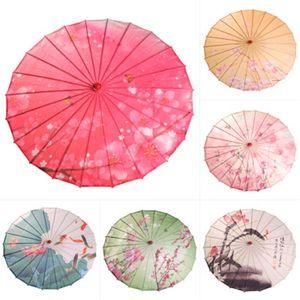 Kreatives Drucken Dance Umbrella Kirschblüten Silk Regenschirme Wasser-Beweis dekorative Fotografie Prop Umbrella Craft Hochzeit Geschenk 19sq H1